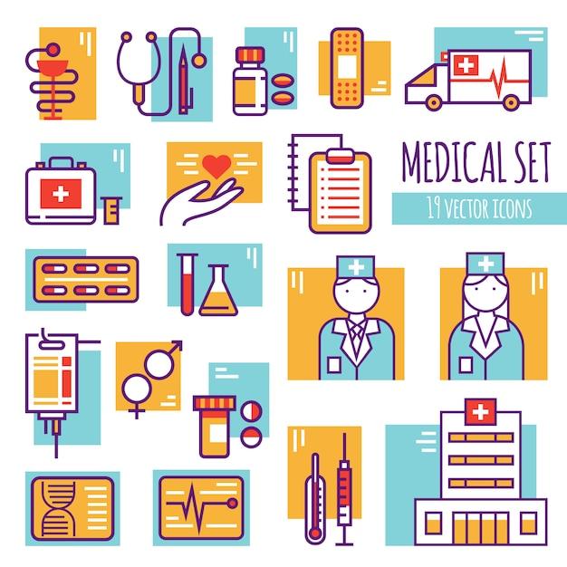 Medische decoratieve lijn icons set Gratis Vector