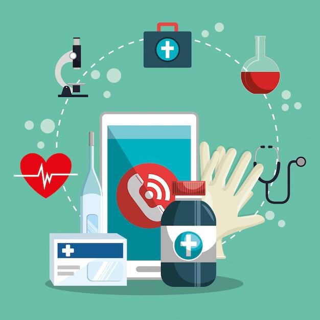 Medische dienst online met smartphone Gratis Vector
