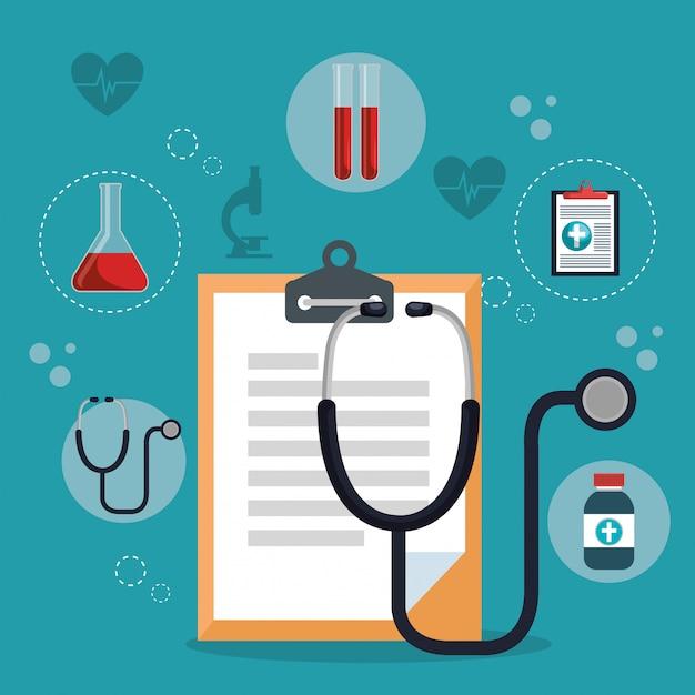 Medische dienst vastgestelde pictogrammen Gratis Vector