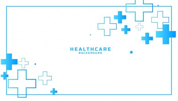 Medische en gezondheidszorg achtergrond met plustekens Gratis Vector