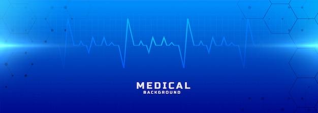 Medische en gezondheidszorg blauwe achtergrond banner Gratis Vector