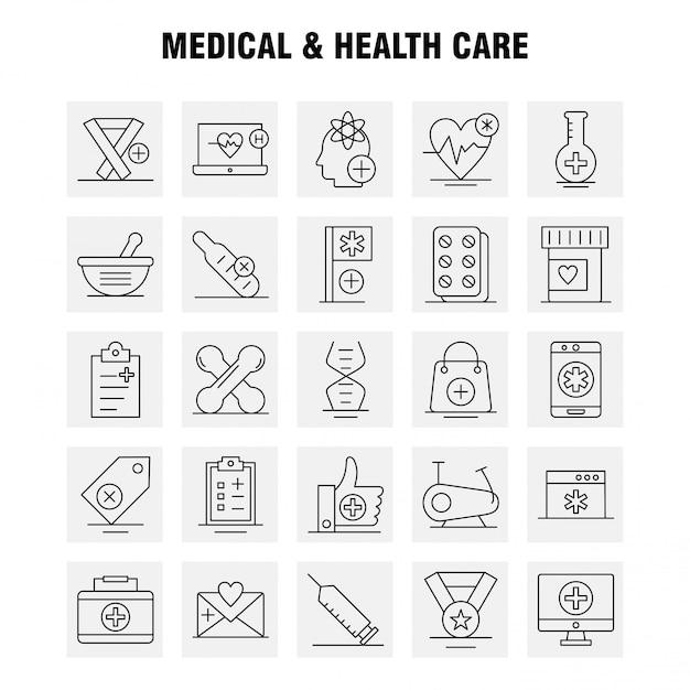 Medische en gezondheidszorg lijn icon set Premium Vector