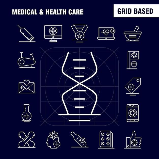 Medische en gezondheidszorg lijnpictogram voor web, print en mobiele ux / ui-kit. Premium Vector