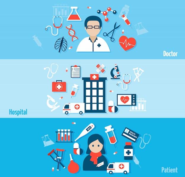 Medische flat banners set met avatar en elementen samenstelling Gratis Vector