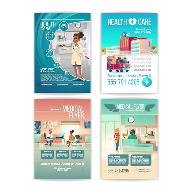 Medische folders ingesteld. posters voor gezondheidszorg Gratis Vector