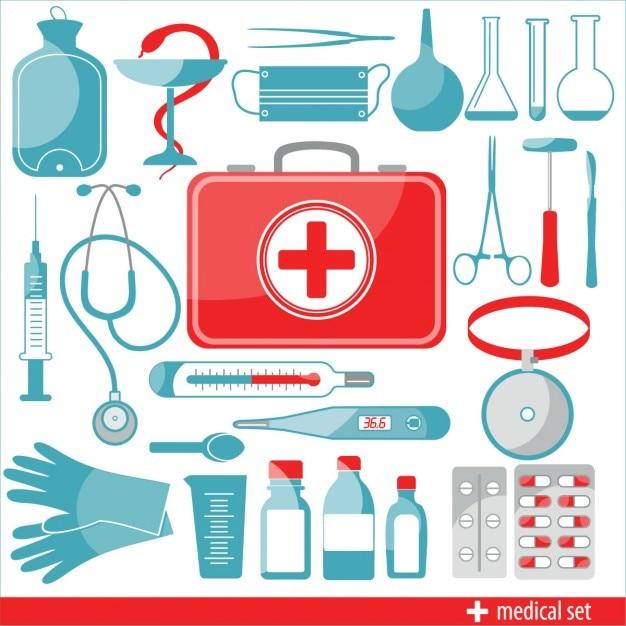 Medische geplaatste pictogrammen Gratis Vector