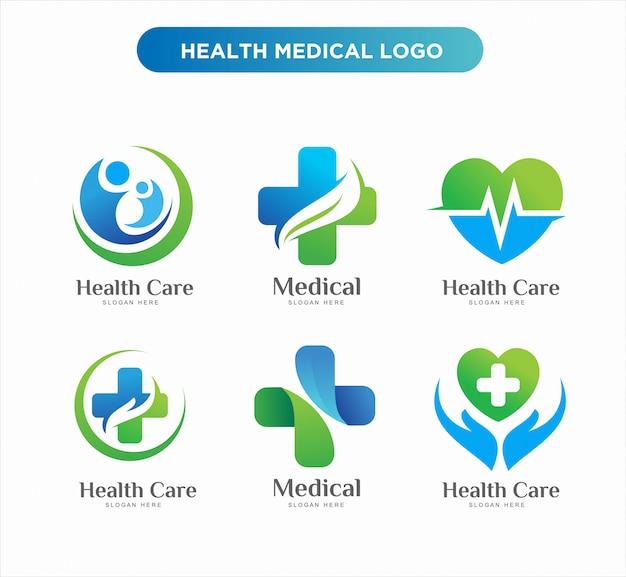 Medische gezondheid logo ontwerpsjablonen Premium Vector