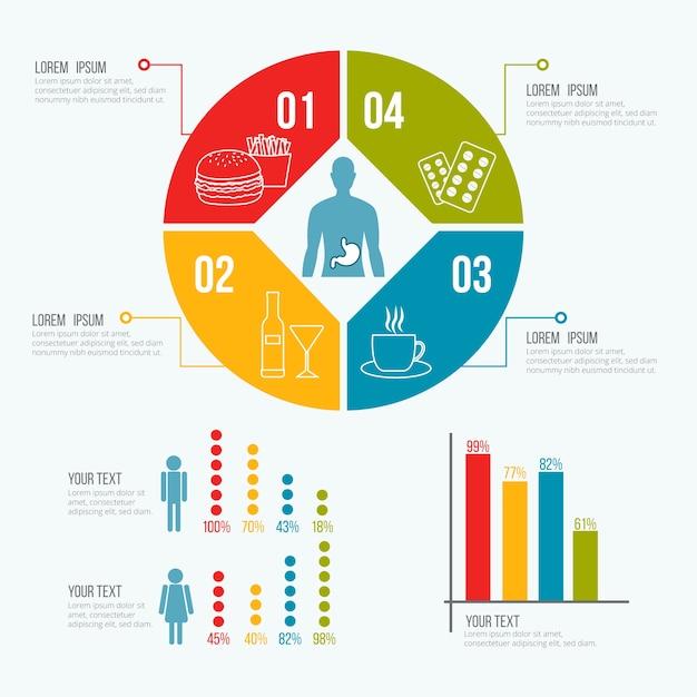 Medische gezondheid sjabloon infographic Gratis Vector