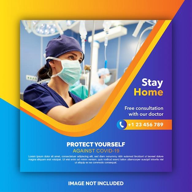 Medische gezondheid sociale media over coronavirus. blijf thuis, red levens. stop coronavirus Premium Vector