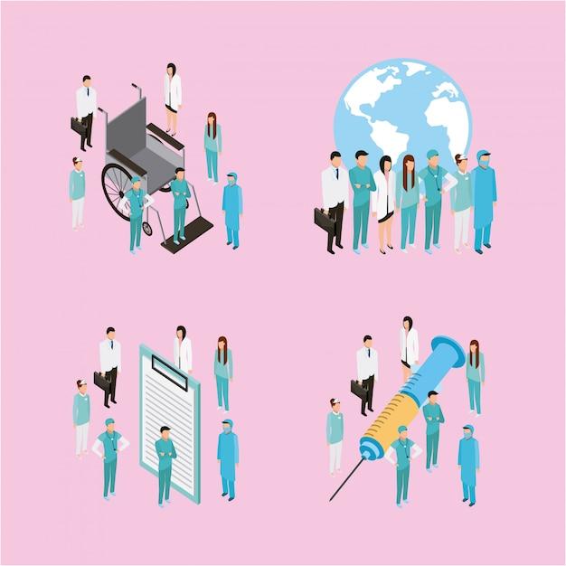 Medische gezondheidskarakters Gratis Vector