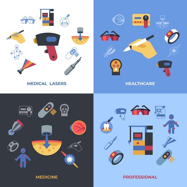 Medische gezondheidszorg lasers pictogrammen Premium Vector
