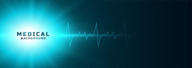 Medische gloeiende banner met hartslaglijn Gratis Vector