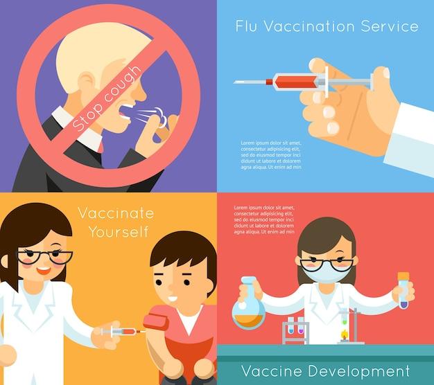 Medische griepvaccinatie concept achtergrond. vaccin tegen virus, spuit en zorg, vectorillustratie Premium Vector