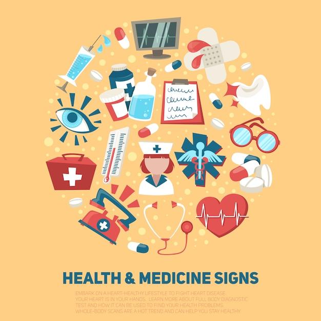 Medische het ziekenhuis en ziekenwagen ondertekent de vectorillustratie van het de gezondheidszorgconcept van de samenstelling Gratis Vector