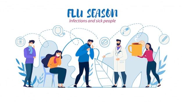 Medische hulp en zorg voor zieke mensen vlakke afbeelding Premium Vector