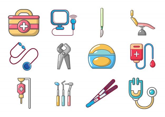 Medische hulpmiddelen pictogramserie. beeldverhaalreeks medische hulpmiddelen vectorpictogrammen geplaatst geïsoleerd Premium Vector