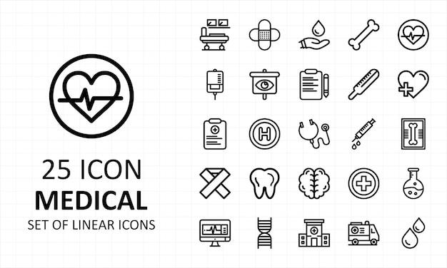 Medische icon set pixel perfect Premium Vector