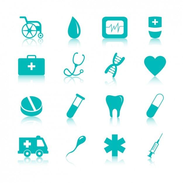 Medische iconen pack Gratis Vector