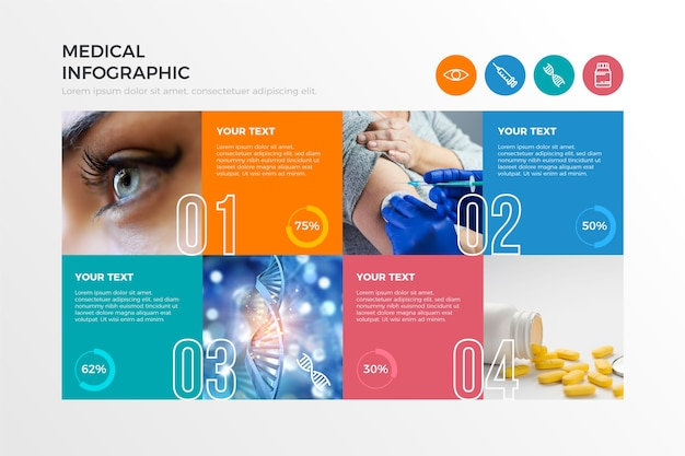 Medische infographic met foto Gratis Vector