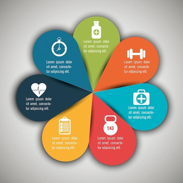 Medische infographics met zeven opties Gratis Vector