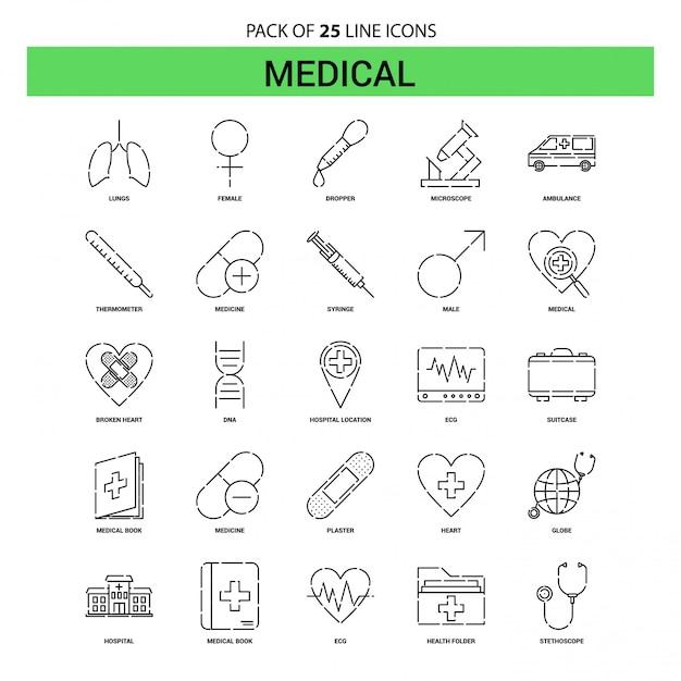Medische lijn icon set - 25 gestippelde overzichtsstijl Premium Vector