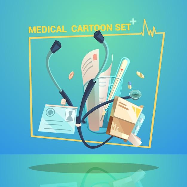 Medische objecten instellen met thermometer pillen en stethoscoop cartoon Gratis Vector