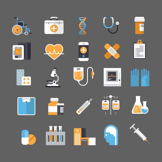 Medische pictogram instellen geneeskunde apparatuur teken ziekenhuis behandeling concept Premium Vector