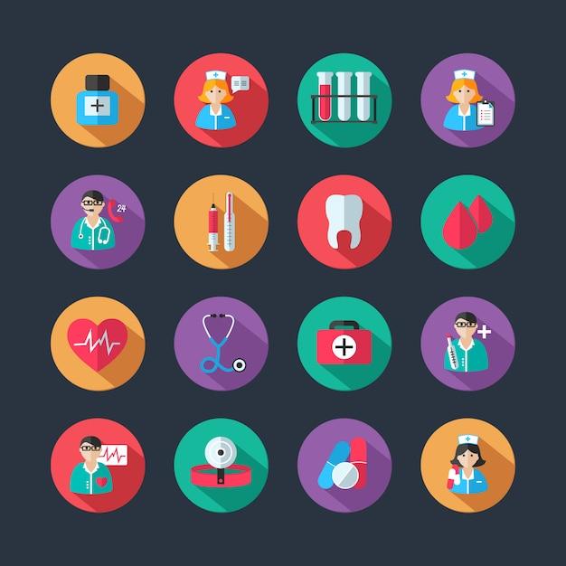 Medische pictogrammen en arts-avatars instellen Premium Vector