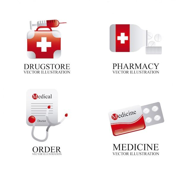Medische pictogrammen over witte achtergrond vectorillustratie Premium Vector