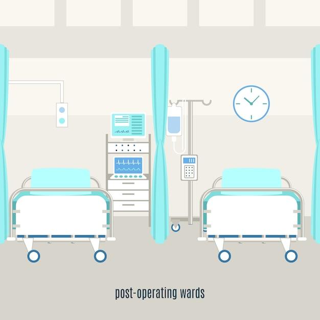 Medische post die de affiche van de herstelafdeling in werking stellen Gratis Vector