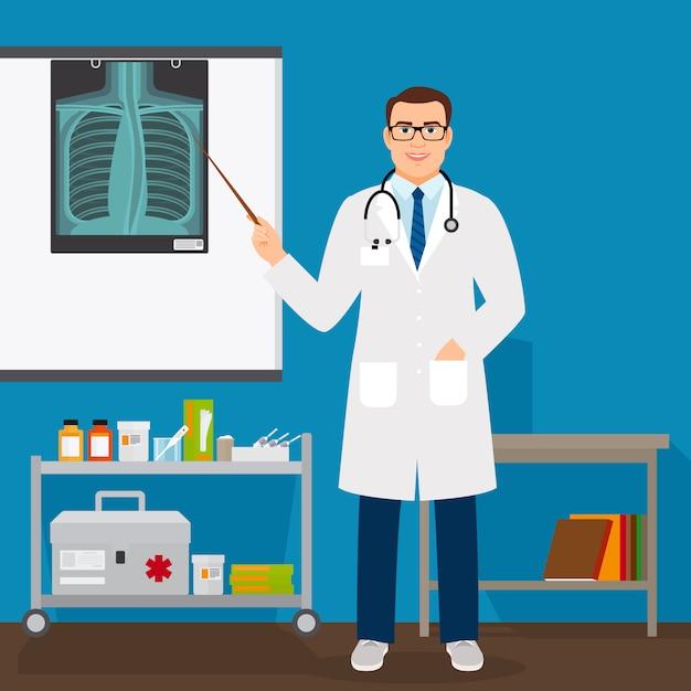 Medische professor controleren longen x-ray film Premium Vector
