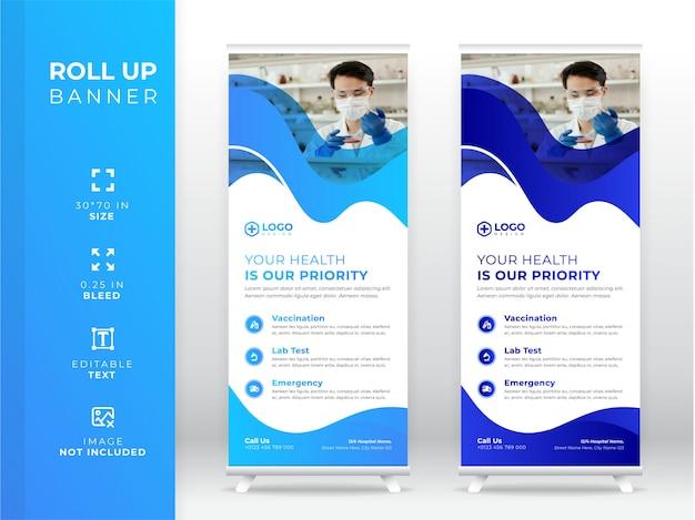 Medische roll-up banner, staande banner premium Premium Vector