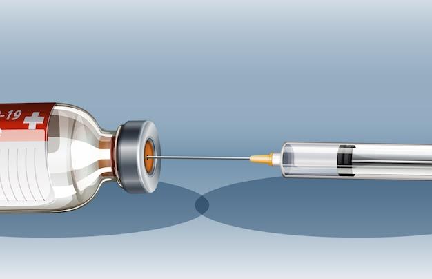 Medische spuit met naald voor covid-19 of coronavirus-poster of banner Gratis Vector