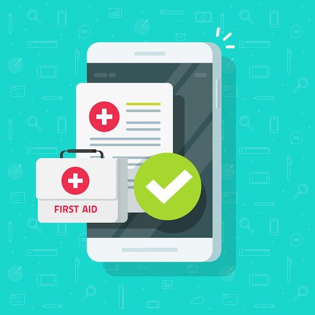 Medische spullen op mobiele telefoon of telegeneeskunde op mobiel plat cartoon Premium Vector