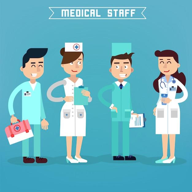 Medische staf. verpleegster en arts. ziekenhuis medisch team. gezondheidszorg. medicine professional. medisch concept. Premium Vector