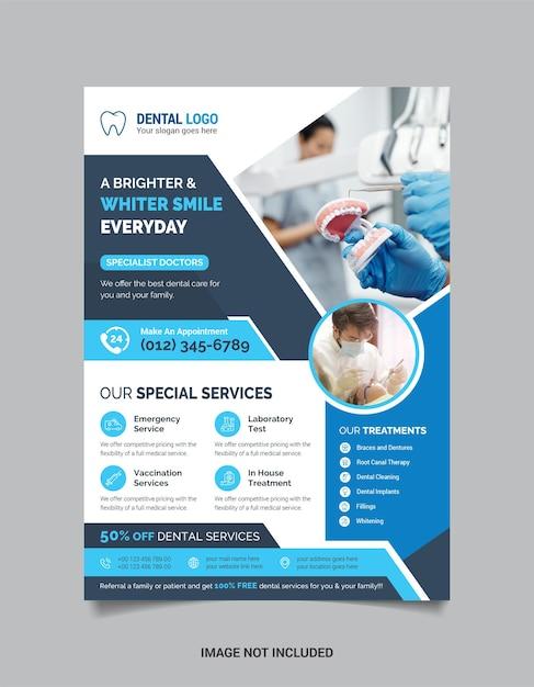 Medische tandheelkundige folder sjabloon met donkere en lichtblauwe kleur Premium Vector