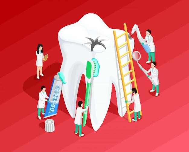 Medische tandheelkundige isometrische sjabloon Gratis Vector