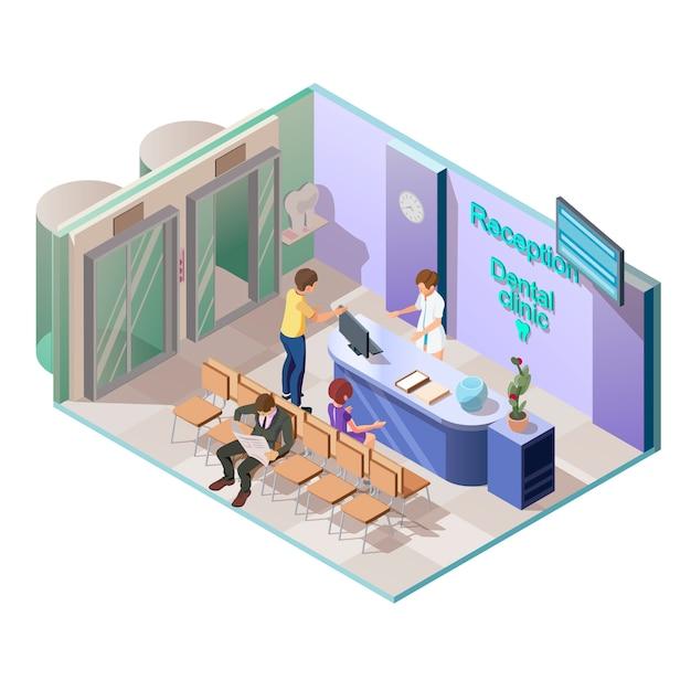 Medische tandheelkundige kliniek in isometrische stijl Gratis Vector