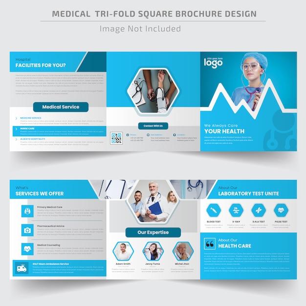Medische vierkante driebladige brochuremalplaatje Premium Vector