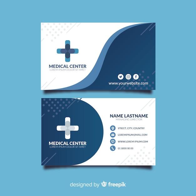 Medische visitekaartjesjabloon met moderne stijl Gratis Vector