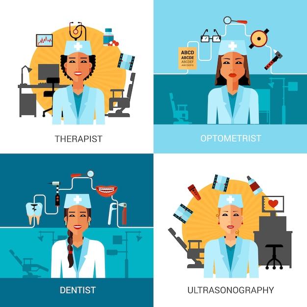 Medische werknemers concept set Gratis Vector
