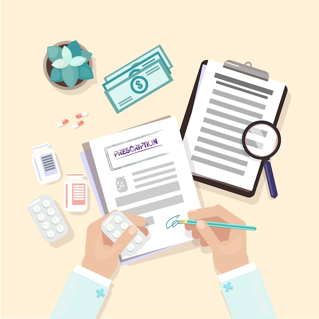 Medische werkplek. handen op tafel. de dokter werkt aan de tafel Premium Vector