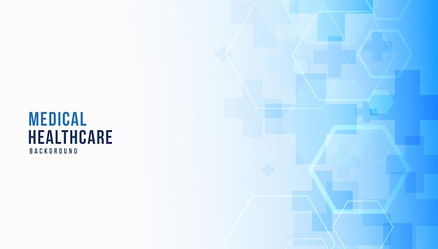 Medische wetenschap en gezondheidszorg blauwe banner Gratis Vector
