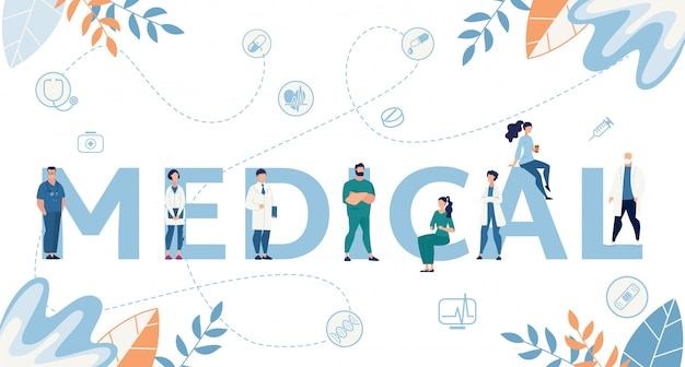 Medische word en kleine cartoon artsen platte banner Premium Vector