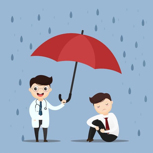 Medische zorg arts heffen een paraplu. Premium Vector