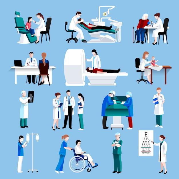 Medische zorg mensen fllat pictogrammen instellen Gratis Vector