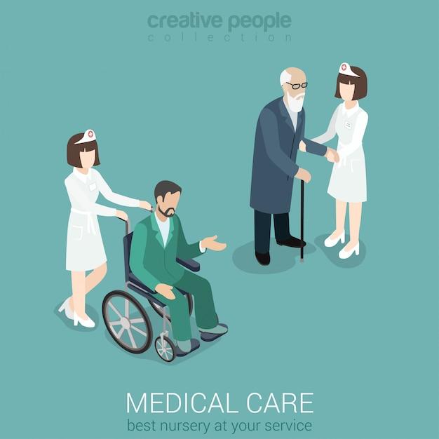 Medische zorg verpleegster arts geneeskunde ziekenhuispersoneel ziektekostenverzekering plat isometrische concept vrouw in uniform met oude man en patiënt op rolstoel. Gratis Vector