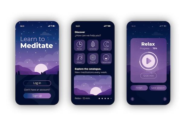 Meditatie app concept Gratis Vector