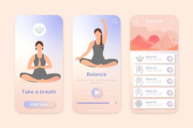 Meditatie app-interface concept Gratis Vector