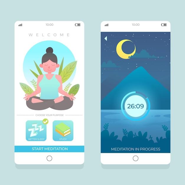 Meditatie-app-interface Gratis Vector